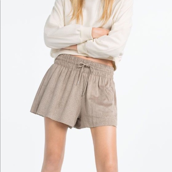 b2735f76d4 Zara Shorts | New Laser Cut Suede Drawstring Small | Poshmark